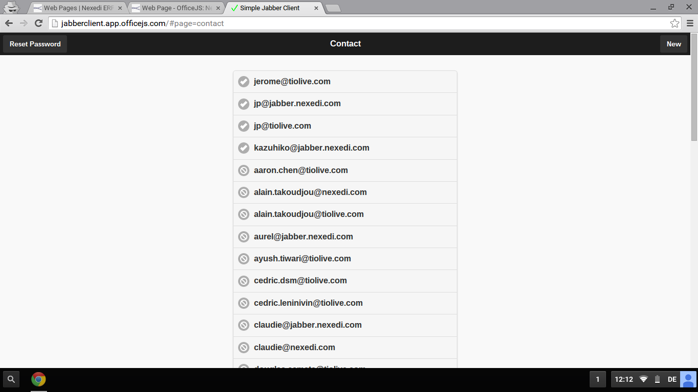 Screenshot: Jabber Client Contact List