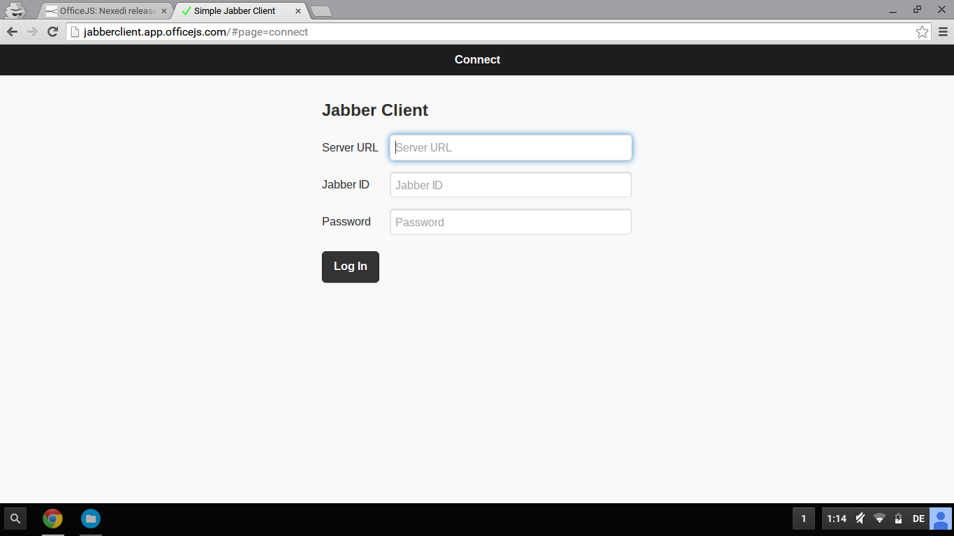 Screenshot: Jabber Client Login