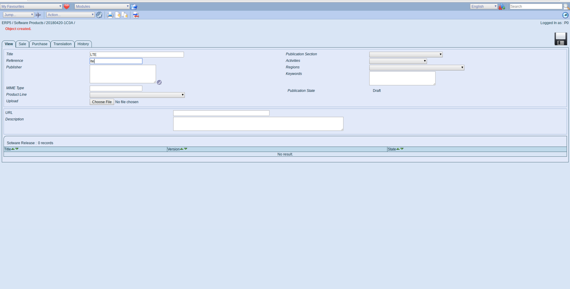 ERP5 Interface - Administrator Define Software Product LTE