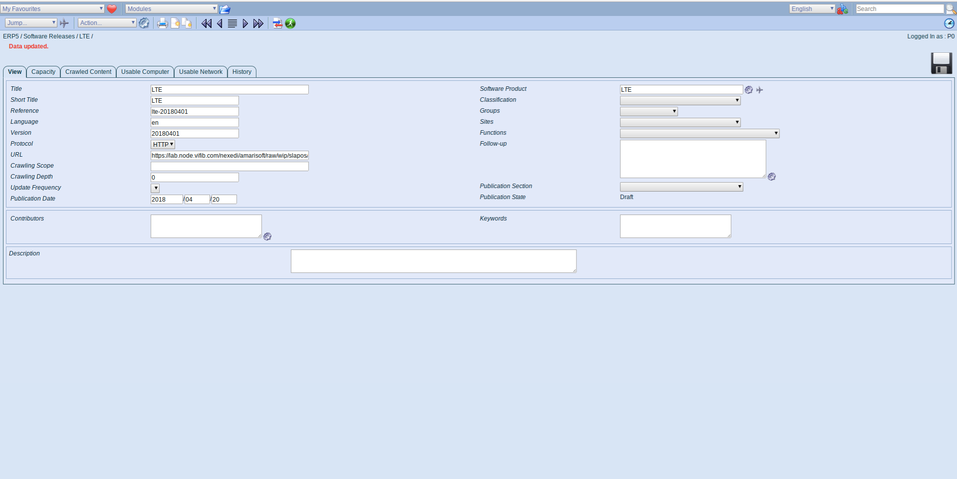 ERP5 Interface - Administrator Define Software Release LTE