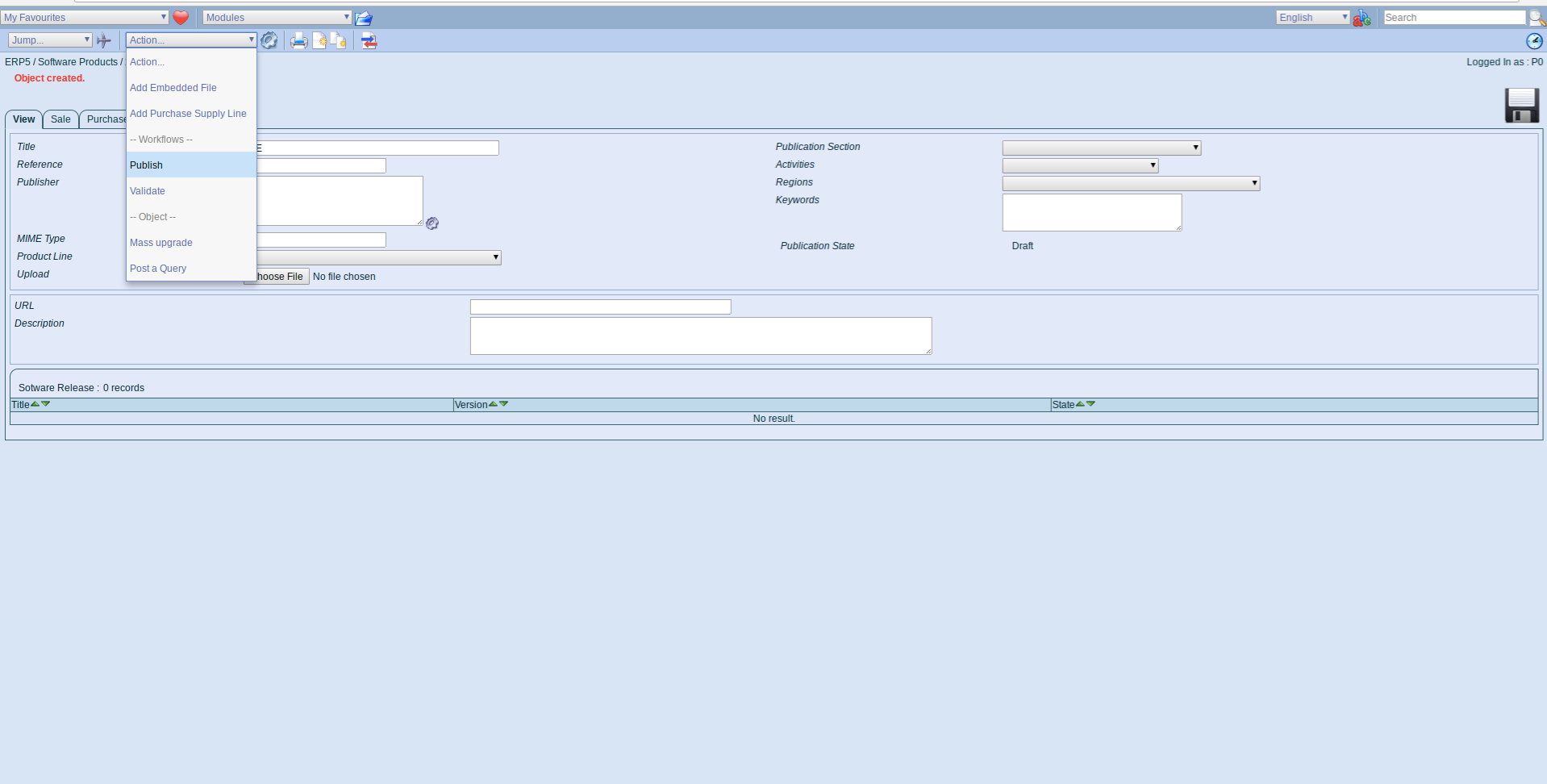 ERP5 Interface - Administrator Publish Software Product LTE