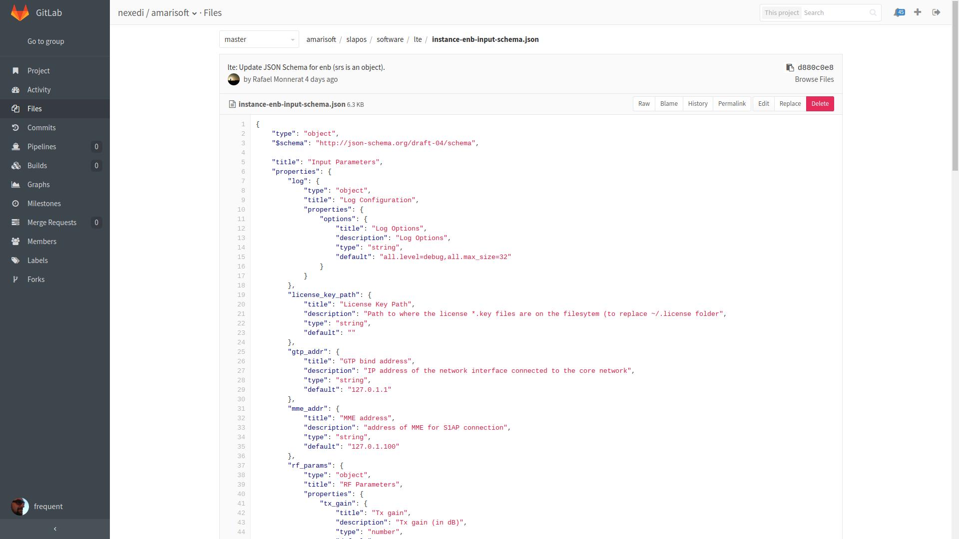 Gitlab Interface - Form Input Schema JSON