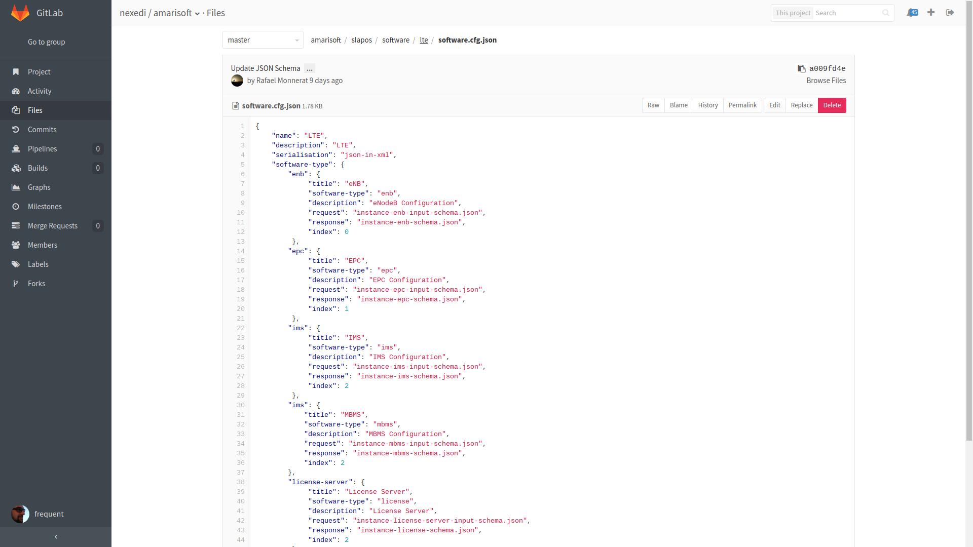 Gitlab Interface - LTE Software Profile (JSON)