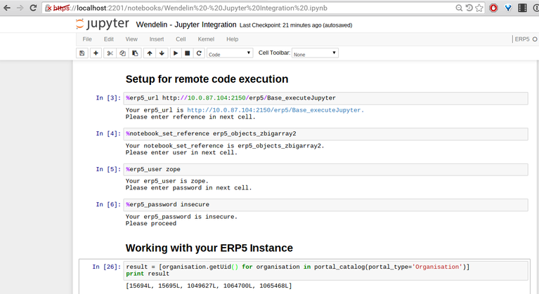 Wendelin Big Data Platform | Screenshot Jupyter Performance Tests