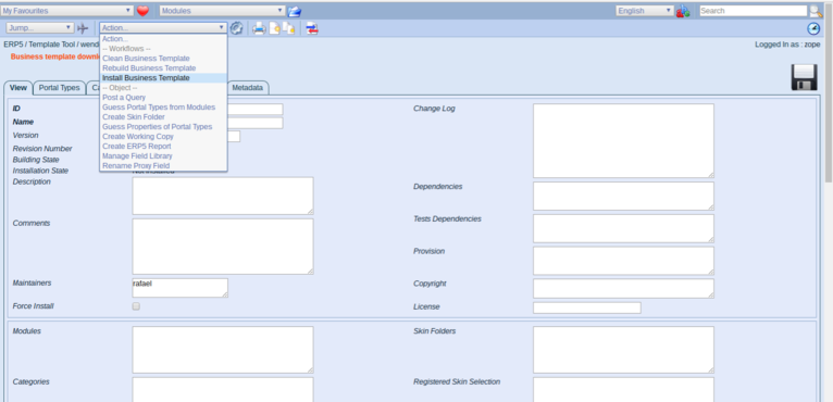 Wendelin ERP5 - Select Install Business Template Action