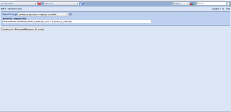 Wendelin ERP5 - Enter Business Template URL