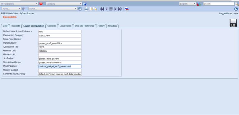 Wendelin-ERP5 - Modify Layout Properties