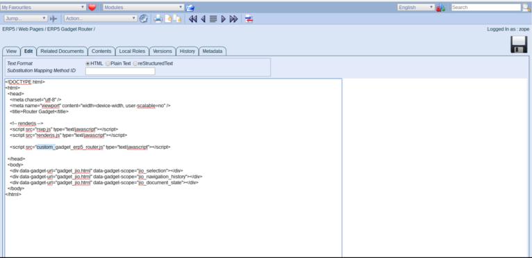 Wendelin-ERP5 - Web Page Module Edit HTML