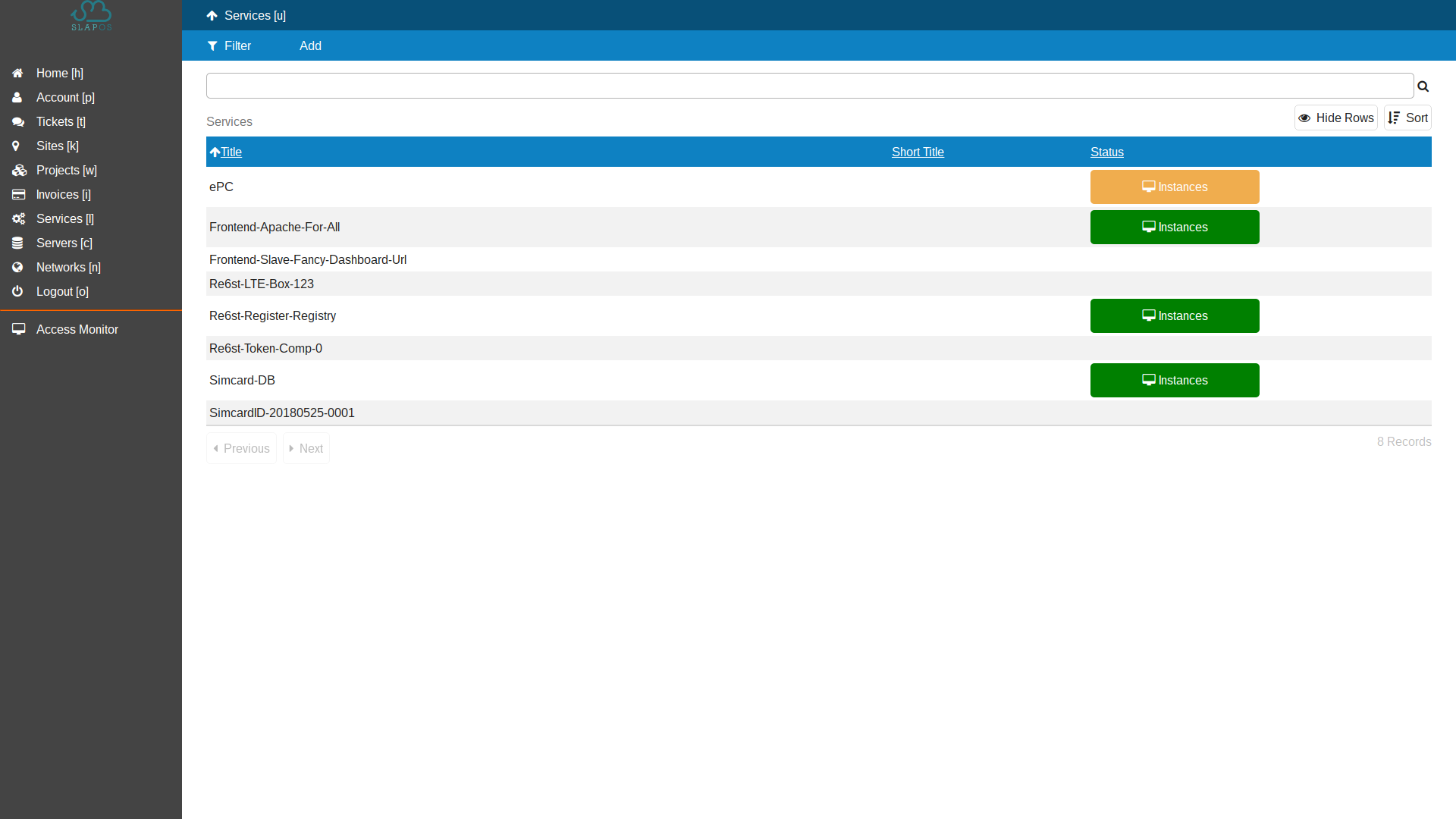 SlapOS Dashboard - Service Instantiation