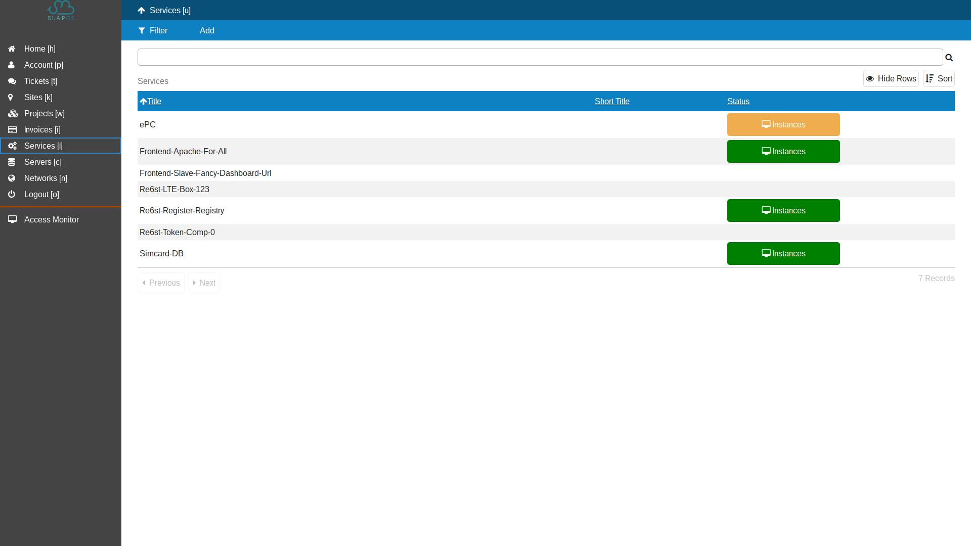 SlapOS Dashboard - Service List