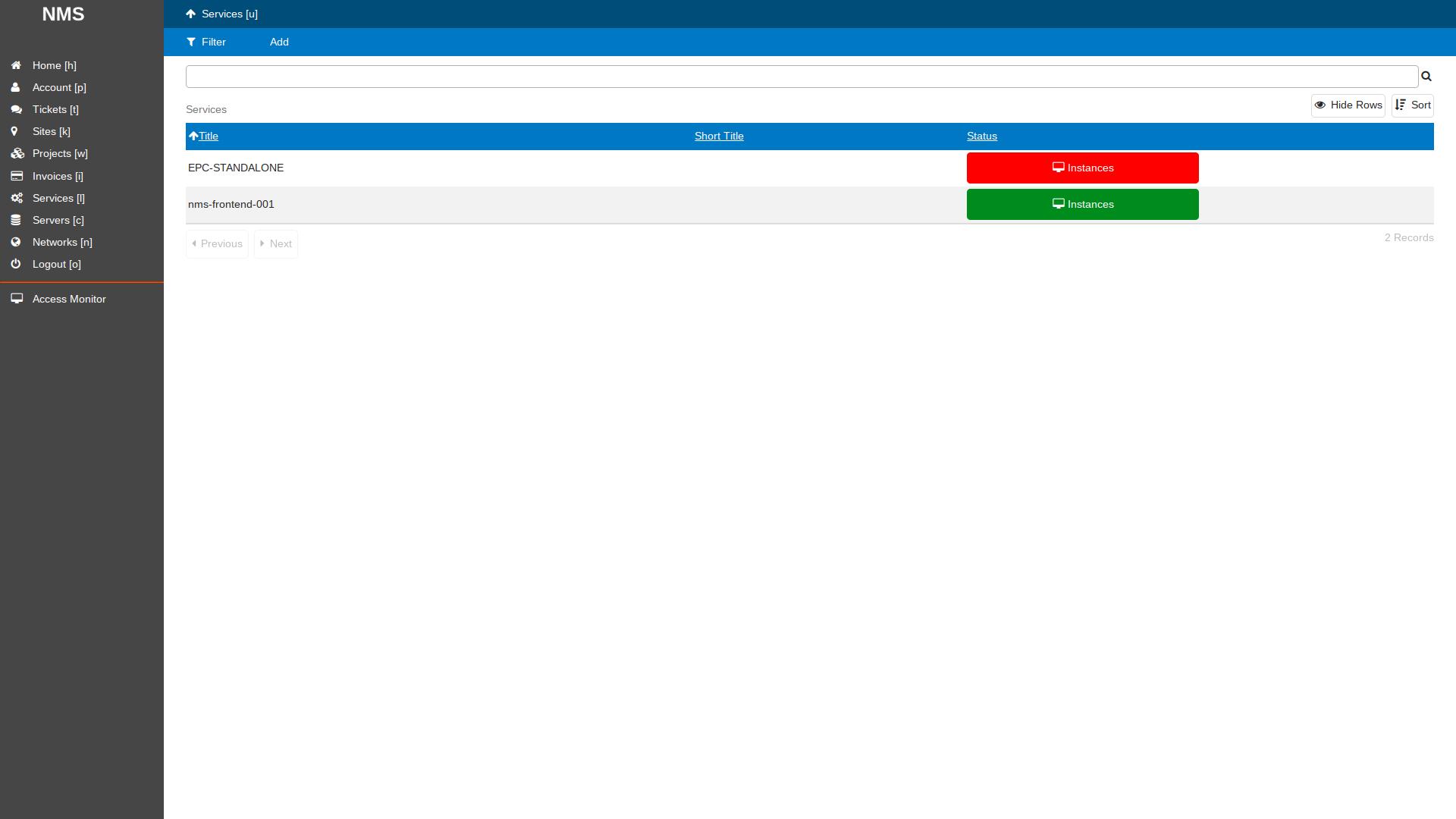 SlapOS Dashboard - Instantiate Service