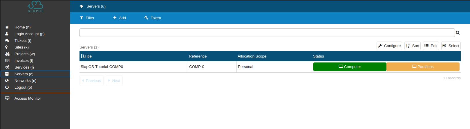 SlapOS - Server List