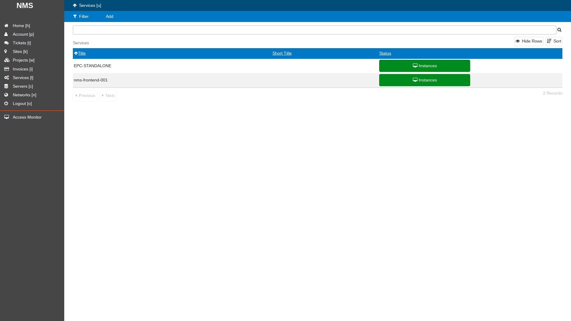SlapOS Dashboard - Service LTE EPC Accessability