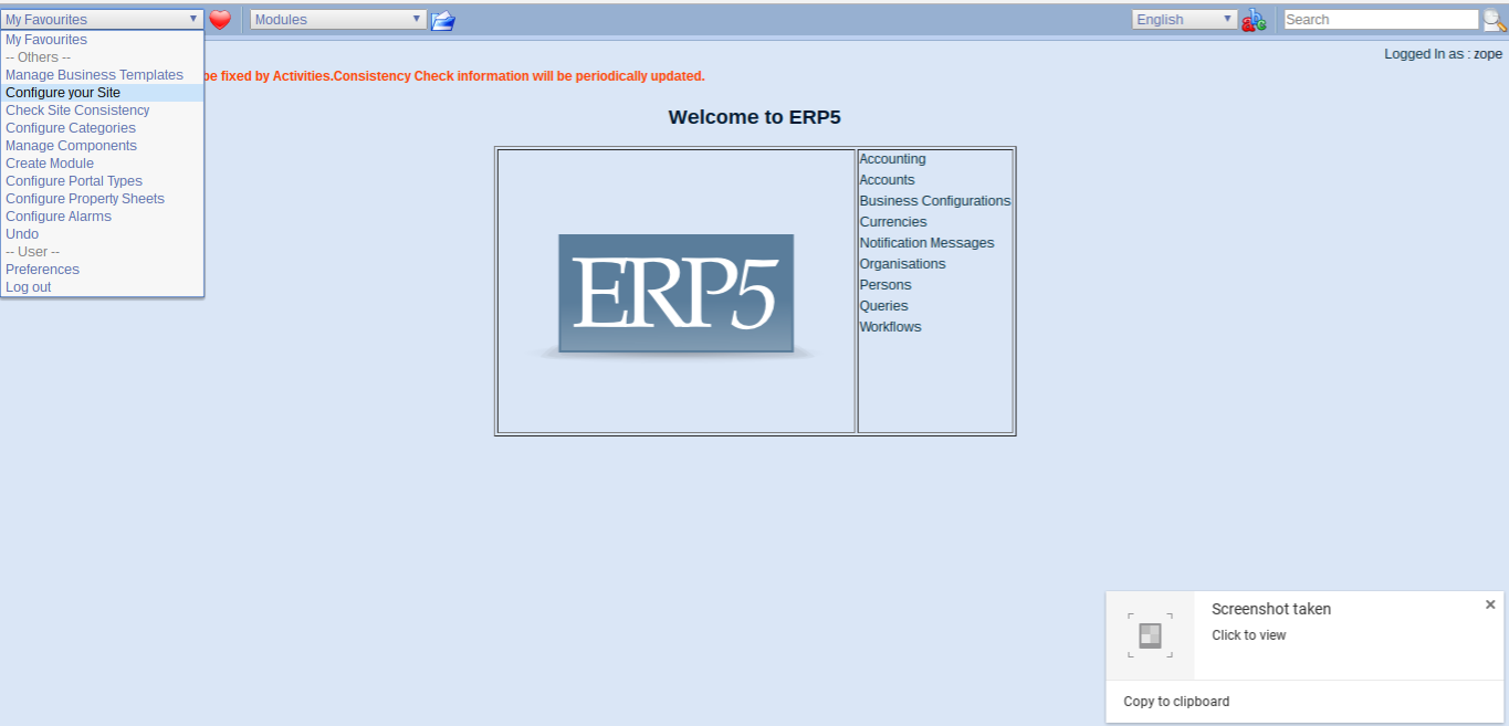 Wendelin-ERP5 Configure Site
